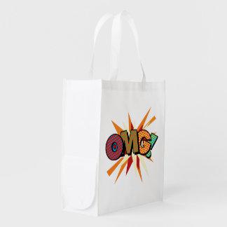Comic-Buch-Pop-Kunst OMG! Wiederverwendbare Einkaufstasche