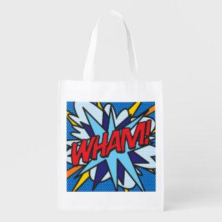 Comic-Buch-Pop-Kunst WHAM! KRIEGSGEFANGEN! Wiederverwendbare Einkaufstasche