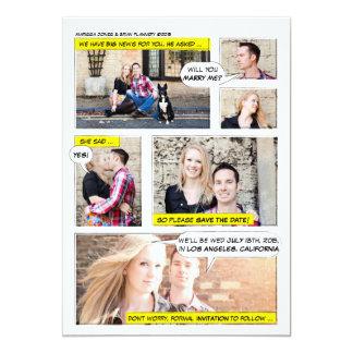 Comic-Buch-Streifen Save the Date 12,7 X 17,8 Cm Einladungskarte