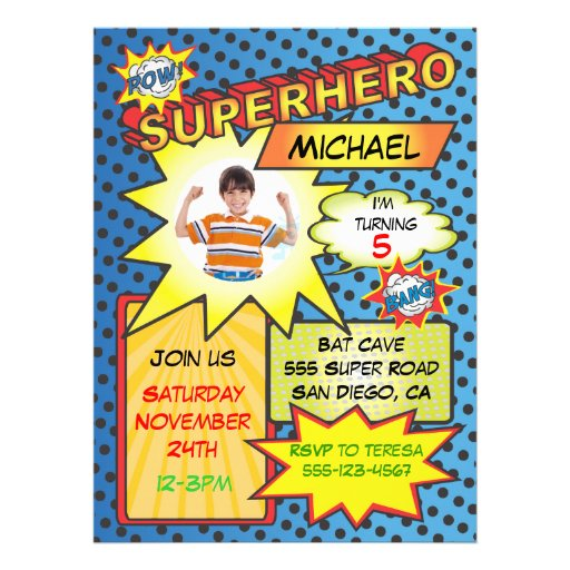 Comic-Buchsuperhero-Foto-Einsatz-Geburtstags-Party Einladungskarte