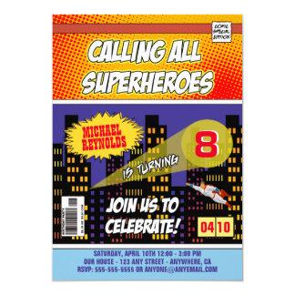 Comic-Buchsuperhero-Geburtstags-Einladungen 12,7 X 17,8 Cm Einladungskarte