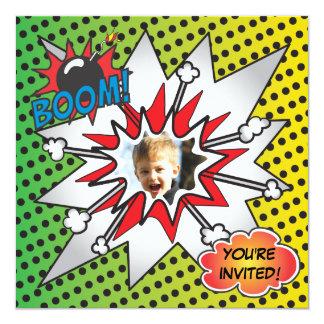Comic-Buchsuperhero-Geburtstags-Party-Foto-Karte Quadratische 13,3 Cm Einladungskarte