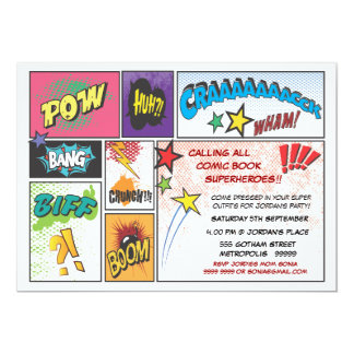 Comic-Buchsuperhero-Jungen-Geburtstags-Party laden 12,7 X 17,8 Cm Einladungskarte