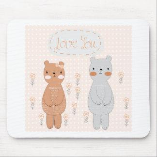 Comic-Cartoon niedlicher Valentinepaare Teddybär Mousepad