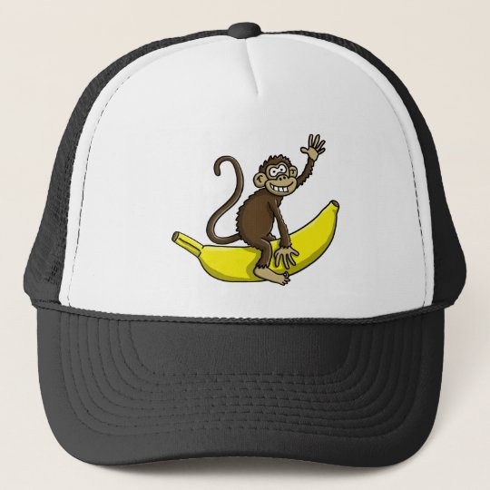 comic monkey banana cowboy sheriff truckerkappe