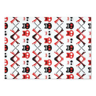 Comic-Schädel mit gekreuztem buntem Muster der 12,7 X 17,8 Cm Einladungskarte
