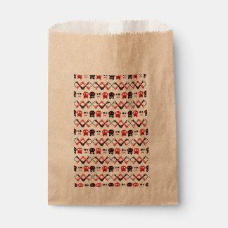 Comic-Schädel mit gekreuztem buntem Muster der Geschenktütchen