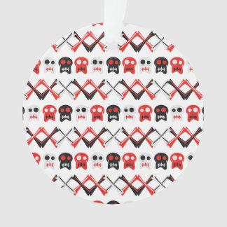 Comic-Schädel mit gekreuztem buntem Muster der Ornament