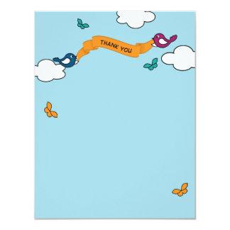 Comic-Streifen-Liebe-Vögel danken Ihnen zu 10,8 X 14 Cm Einladungskarte