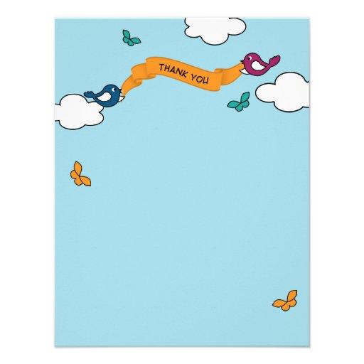 Comic-Streifen-Liebe-Vögel danken Ihnen zu Personalisierte Ankündigung