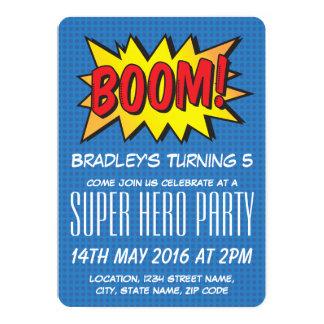 Comic-Superheld-blauer personalisierter 12,7 X 17,8 Cm Einladungskarte