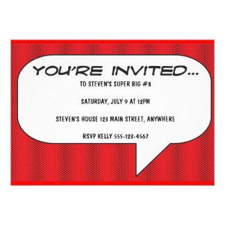Comicbuch rufen Einladung aus