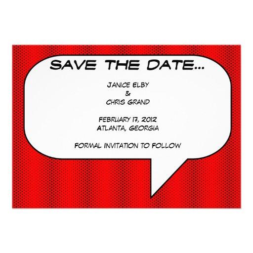 Comicbuch Save the Date Ankündigungskarte