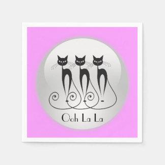 Comicfranzosedreiergruppen der schwarzen Katze Serviette