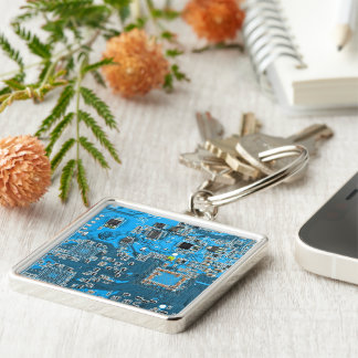 Computer-Aussenseiter-Leiterplatte - Blau Silberfarbener Quadratischer Schlüsselanhänger