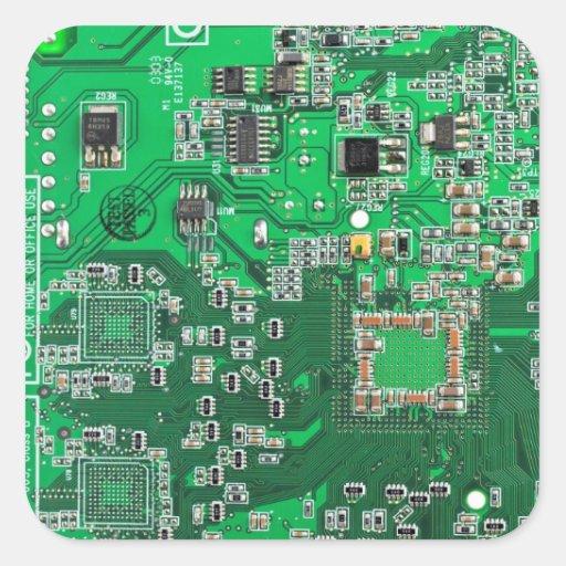 Computer-Aussenseiter-Leiterplatte - Grün Quadratsticker