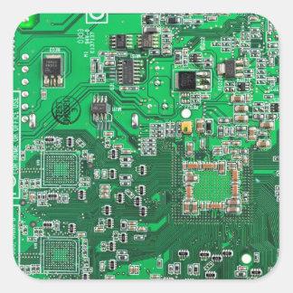 Computer-Aussenseiter-Leiterplatte - Grün Quadratischer Aufkleber