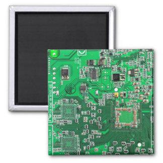 Computer-Aussenseiter-Leiterplatte - Grün Quadratischer Magnet
