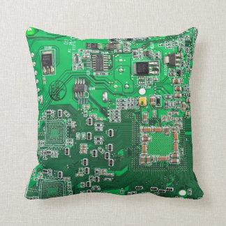 Computer-Aussenseiter-Leiterplatte - Grün Zierkissen