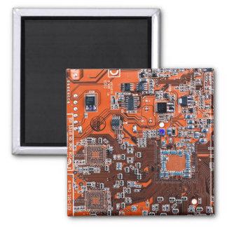 Computer-Aussenseiter-Leiterplatte - Orange Quadratischer Magnet