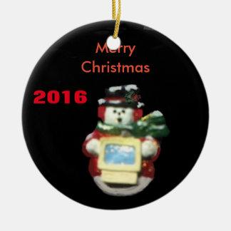 COMPUTER-SCHNEEMANN-WEIHNACHTSverzierung 2016 Keramik Ornament