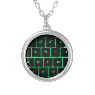 Computer-Tasten des grünen Glühens QWERTY Versilberte Kette