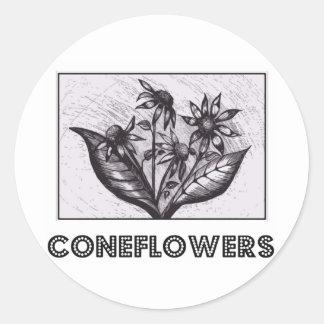 Coneflowers Runder Aufkleber