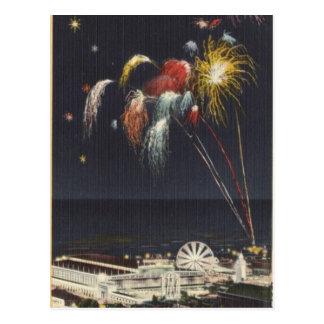 Coney Island-Feuerwerke Postkarte