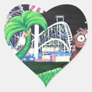 Coney Island-Meerjungfrau Herz-Aufkleber