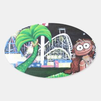 Coney Island-Meerjungfrau Ovaler Aufkleber