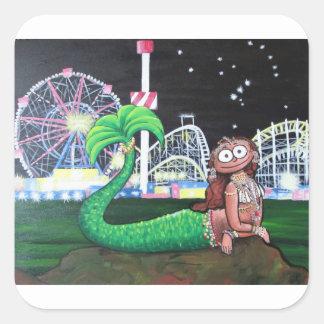 Coney Island-Meerjungfrau Quadratischer Aufkleber