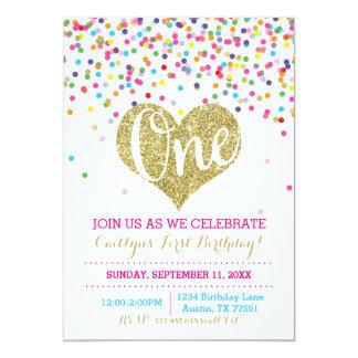 Confetti-GoldGlitter-erste Geburtstags-Einladung Karte
