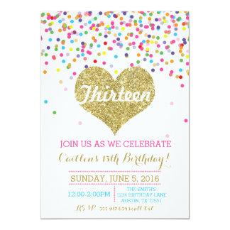 Confetti-GoldGlitter-Geburtstags-Einladung Karte