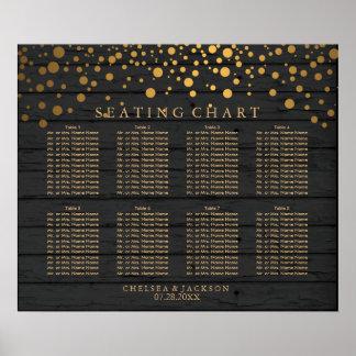 Confetti-Goldpunkte auf schwarze setzendem Poster