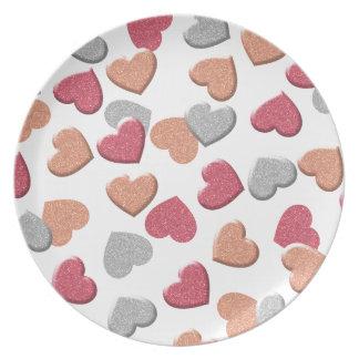 Confetti-Herzen im Silber, in der Rose und im Teller