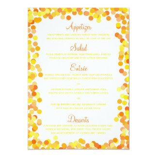 Confetti-Hochzeits-Menü-Karten 12,7 X 17,8 Cm Einladungskarte