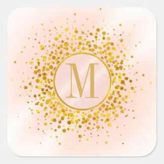 Confetti-Monogramm-Rosen-Goldfolie ID445 Quadratischer Aufkleber