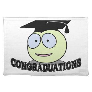 Congraduations smiley mit Absolvent-Kappe Tischset