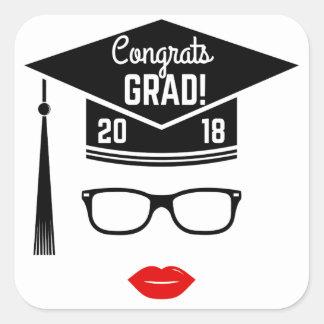 congrats Absolventmädchen 2018 Quadratischer Aufkleber