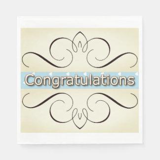 Congrats-Celebrate_Elegant-Cream-Iron-Hearts_Blue Papierserviette