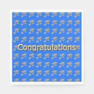 Congrats-Celebrate_Roses-Blue_Gold_Party-Supplies Papierservietten