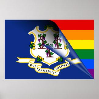 Connecticut-Flaggen-Gay Pride-Regenbogen Poster