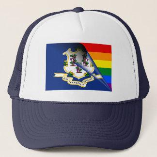 Connecticut-Flaggen-Gay Pride-Regenbogen Truckerkappe