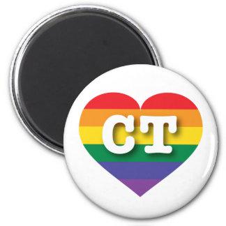 Connecticut-Gay Pride-Regenbogen-Herz - große Runder Magnet 5,7 Cm
