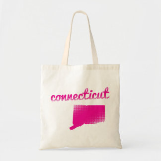Connecticut-Staat im Rosa Budget Stoffbeutel