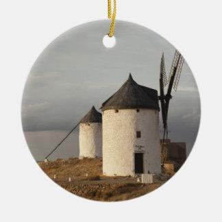 Consuegra, antike La Mancha Windmühlen 3 Rundes Keramik Ornament