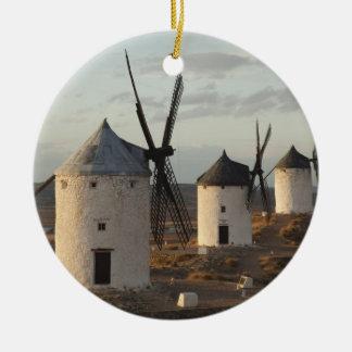 Consuegra, antike La Mancha Windmühlen 5 Rundes Keramik Ornament