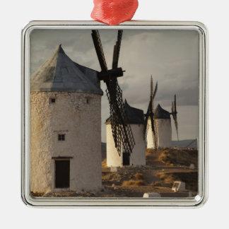 Consuegra, antike La Mancha Windmühlen 6 Quadratisches Silberfarbenes Ornament