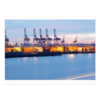 Containerhafen Nachts Postkarte