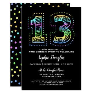 Cool auf schwarzer Spaß-13. Geburtstags-Party Karte